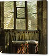 sunlight on linen fold altar in Trinity church York Canvas Print