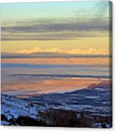 Sunrise View Across Cook Inlet From Above Anchorage Alaska Canvas Print