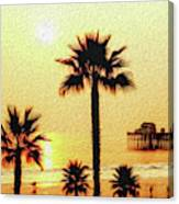 Sunset At The Beach In Oceanside California Canvas Print