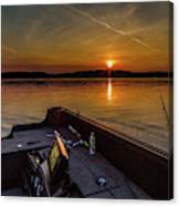 Sunset Fishing Dog Lake Canvas Print