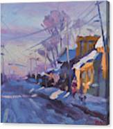 Sunset In A Snowy Street Canvas Print