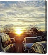 Sunset In Parking Lot 2 Canvas Print