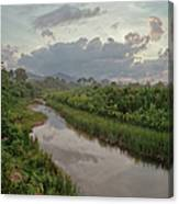 Sunset Over An Amazon Jungle River Canvas Print