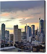 Sunset Over  Makati City, Manila Canvas Print