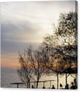 Sunset Scene Of Tree Branches And People Silhouettes Canvas Print