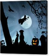 Super Cute Halloween Night With Dog And Cat Canvas Print