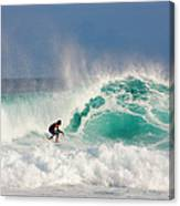 Surfer On Waves, Maldives Canvas Print