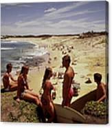 Surfers & Girls In Bikinis, Soldiers Canvas Print