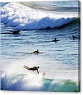 Surfing At Southern End Of Bondi Beach Canvas Print