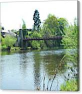 suspension bridge on river Teviot near Heiton Canvas Print