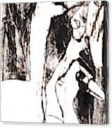 Swans After Mikhail Larionov Black Oil Painting 5 Canvas Print