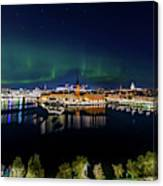 Swirly Aurora Over Stockholm And Gamla Stan Canvas Print