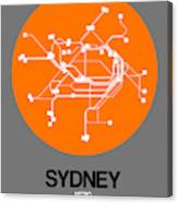 Sydney Orange Subway Map Canvas Print