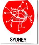 Sydney Red Subway Map Canvas Print