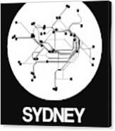 Sydney White Subway Map Canvas Print
