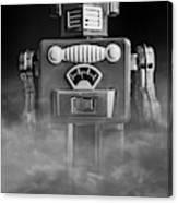 Take Me To Your Leader Vintage Tin Toy Robot Black And White Canvas Print