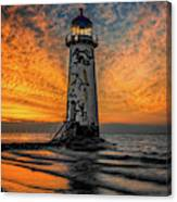 Talacre Beach Lighthouse Sunset Canvas Print