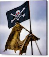 Tattered Sail And Pirate Flag Canvas Print