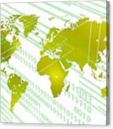 Tech Worldmap With Binary Code Canvas Print