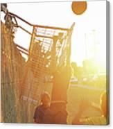 Teenage Boys 13-15 Playing Basketball Canvas Print