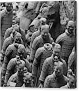 Terra Cotta Warriors In Black And White, Xian, China Canvas Print