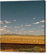 Texan Desert Landscape And Rail Tracks Canvas Print