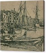 Thames Warehouses, 1859, 1904 Canvas Print