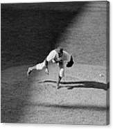 The Dodgers Hal Gregg, In Action In The Canvas Print
