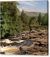 The Falls Of Dochart And Bridge At Killin In Scottish Highlands Canvas Print