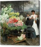 The Flower Vendor On The Quays In Paris Canvas Print