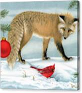 The Fox And The Cardinal Canvas Print