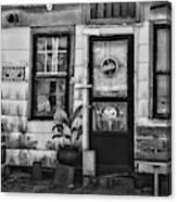 The Old Country Store Black And White Canvas Print