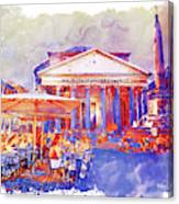 The Pantheon Rome Watercolor Streetscape Canvas Print