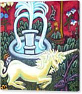 The Unicorn And Garden Canvas Print
