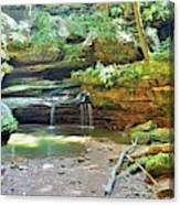The Waterfall In Old Man's Cave Hocking Hills Ohio Canvas Print