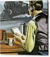 Thomas Edison, The Railway Telegraphist  Canvas Print