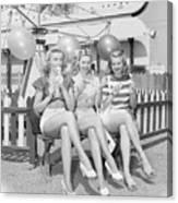 Three Actress Resting At Amusement Park Canvas Print