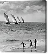 Three Boys Running Along Beach Canvas Print