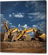 Three Excavators At Construction Site Canvas Print