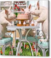 Three Little Pigs And The Birthday Cake Canvas Print