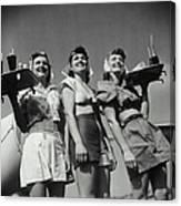 Three Smiling Waitresses Holding Trays Canvas Print