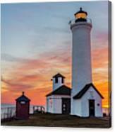 Tibbetts Point Light At Sunset Canvas Print