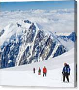 Tied Climbers Climbing Mountain With Canvas Print