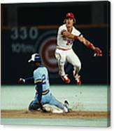 Tommy Herr Making Double Play Canvas Print