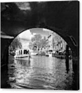 Tourboat On Amsterdam Canal Canvas Print