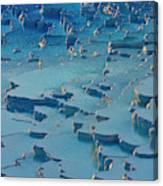 Tourist On Travertine Terraces Canvas Print
