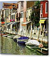Tourists Along A Canal, Murano, Venice Canvas Print