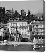 Town In The Shore Of Lake Como In Black And White Canvas Print