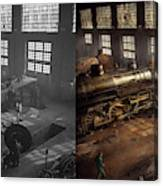 Train - Repair - Third Door On The Right 1942 - Side By Side Canvas Print