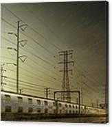 Train Speeding By Power Lines Canvas Print